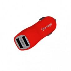 Cargador para auto 2 USB VORAGO AU-103 - Auto, Encendedor de cigarrillos, Rojo