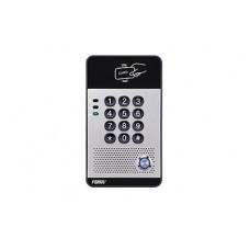 Portero IP con 2 lneas SIP, relevador integrado, teclado numrico y lectora de tarjetas RFID (MIFARE) para control de acceso, PoE