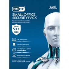 ESET SMALL OFFICE SECURITY PACK, 5 PCS + 5 SMARTPHONE O TABLET + I SERVER + CONSOLA, 1 AÃ?O DE VIGENC