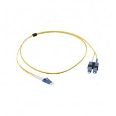 Jumper de Fibra Óptica Monomodo (OS2), XGLO, Riser, LC/UPC-SC/UPC Duplex, OFNR, Color Amarillo, 1 Metro