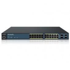 Switch PoE Administrable  de 24 Puertos Gigabit, 4 Puertos SFP, Soporta Hasta 410 W con Opción de Controlador para Serie Neutron y Enturbo.
