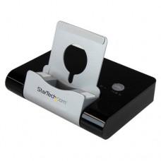 StarTech.com Concentrador USB 3.0 de 3 Puertos - Hub con Puerto de Carga Rápida (2,1A) y Base para Portátiles y Tablets con Windows - Negro