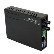 StarTech.com 10/100 Mbps Ethernet to Fiber Optic Media Converter - ST Multimode - 1310nm - 2km - Full/Half Duplex (MCM110ST2) - Conversor de soportes de fibra - 100Mb LAN - 10Base-T, 100Base-FX, 100Base-TX - RJ-45 / modo múltiple ST - hasta 2 km - 1310 nm