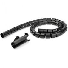 StarTech.com Manga de 2,5m para Gestión de Cableado - en Espiral - con Diámetro de 25mm - con Herramenta de Inserción de Cableado - Negro - Kit de fundas para cables - negro - 2.5 m