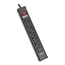 SUPRESOR DE PICOS 5 CONTACTOS 2 PUERTOS USB CABLE DE 1.83 M