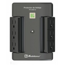 Protector de voltaje - 2500 VA /2000 W, 6 cont KOBLENZ PV-2500 D, Negro, 2500 VA, 2000 W
