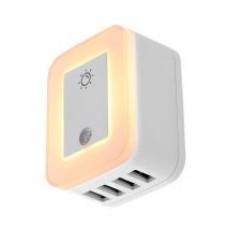Forza - Módulo de inserción - CA 110/220 V - 4 Tomas de Corriente - Protección contra cortocircuito y  sobrecarga - 4 puertos USB con alimentación - Corriente máxima compartida de 4,8A - Luz nocturna automática con sensor táctil e  intensidad regulable -
