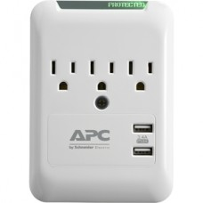 APC ESSENTIAL SURGEARREST 3 OUT WALL TAP WITH 5V  3.4A 2 PORT USB