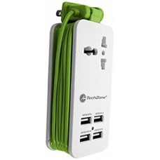 Centro de carga TZ15CHS-BR TECHZONE - con 4 Puertos USB, una Salida 2.1 A y 3 Salidas 1 A, Color Blanco/Verde
