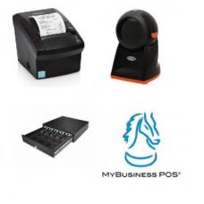 KIT para Punto de Venta BASICO 2 - Impresora de Ticket, Lector de Código de Barras, Cajón de Dinero, compartimentos para billetes/monedas y MyBusiness POS