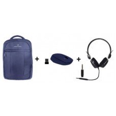 Combo Azul: Bundle mochila - mouse inalámbrico y diadema PC-083757, PC-113171 y PC-045052