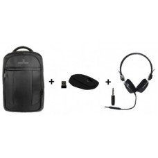 Combo negro: Bundle mochila - mouse inalambrico y diadema PC-083740, PC-113171 y PC-045038