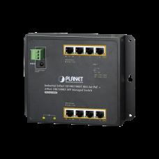 Switch Industrial de Pared de 8 puertos Gigabit con 4 puertos PoE+ 802.3at y 2 SFP