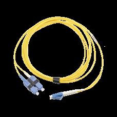 Jumper de Fibra Óptica Monomodo (OS2), XGLO, LC/UPC-SC/UPC Duplex, OFNR, Color Amarillo, 10 Metros