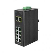 Switch industrial administrable de 8 puertos 1GB + 2 puertos SFP 1GB -40~75ºC