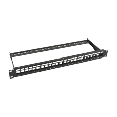 Patch panel modular sin blindaje de 24 puertos, 1U, con barra para organizar cable