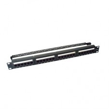 Patch panel UTP de 24 puertos Cat6, 19in, con barra para organizar cable