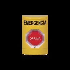 Botón de Emergencia en Español, Color Amarillo, Acción Mantenida, Girar para Restablecer y LED Multicolor