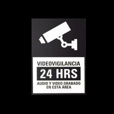 Etiquetas Adheribles Videovigilancia 24 Horas Color Blanco y Negro / Paquete con 10