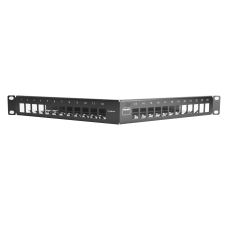 Patch Panel TERA-MAX de 24 Puertos, Modular, Angulado, Color Negro, 1UR